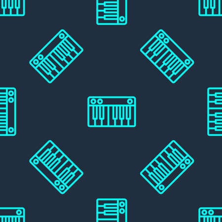 Green line Music synthesizer icon isolated seamless pattern on blue background. Electronic piano. Vector Illustration.