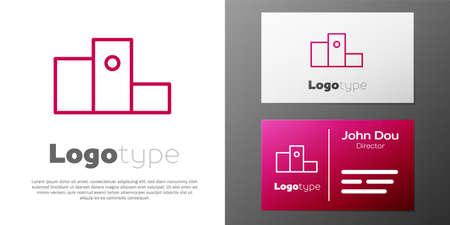 Logotype line Award over sports winner podium icon isolated on white background. Illustration