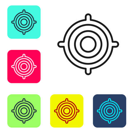 Black line Target sport icon isolated on white background. Clean target with numbers for shooting range or shooting. Set icons in color square buttons. Vector Illustration. Çizim