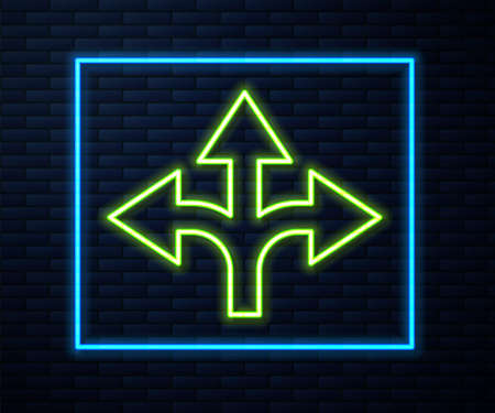 Glowing neon line Road traffic sign. Signpost icon isolated on brick wall background. Pointer symbol. Isolated street information sign. Direction sign. Vector Illustration.