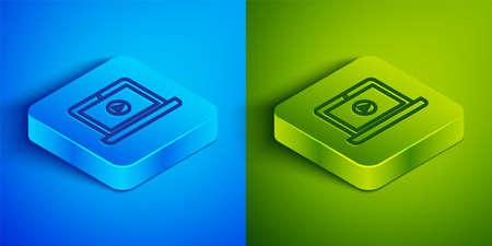 Isometric line Online play video icon isolated on blue and green background. Laptop and film strip with play sign. Square button. Vector Illustration.  イラスト・ベクター素材