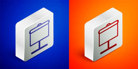 Isometric line Projection screen icon isolated on blue and orange background. Business presentation visual content like slides, infographics and video. Silver square button. Vector Illustration.