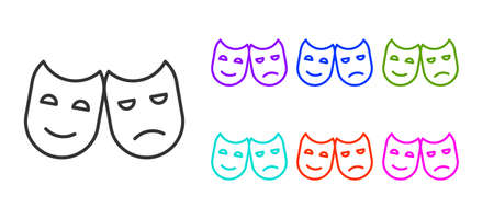 Black line Comedy and tragedy theatrical masks icon isolated on white background. Set icons colorful. Vector Illustration.