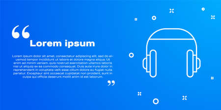 White line Headphones icon isolated on blue background. Support customer service, hotline, call center, faq, maintenance. Vector Illustration.