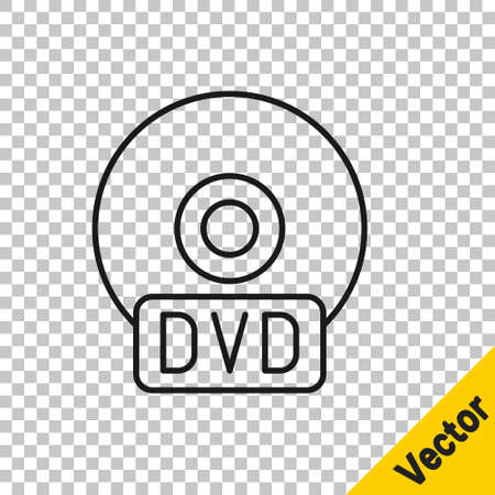 Black line CD or DVD disk icon isolated on transparent background. Compact disc sign. Vector Illustration.