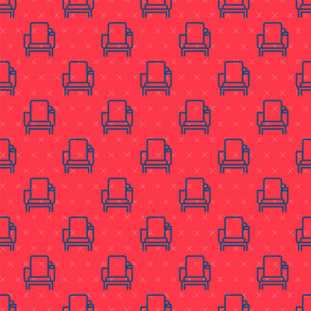 Blue line Cinema chair icon isolated seamless pattern on red background. Vector Illustration.