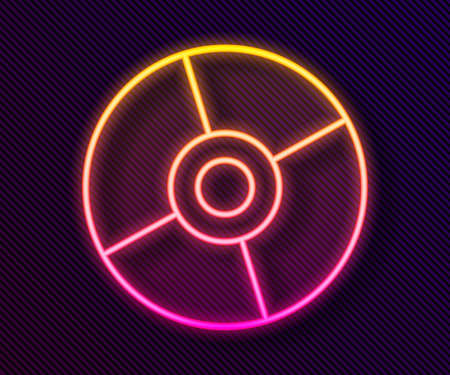 Glowing neon line CD or DVD disk icon isolated on black background. Compact disc sign. Vector Illustration.