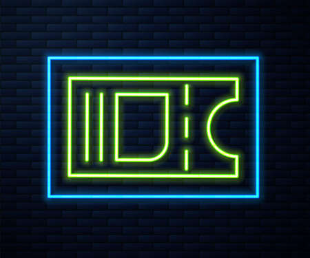 Glowing neon line Cinema ticket icon isolated on brick wall background. Vector Illustration. Ilustrace