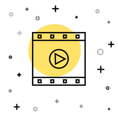Black line Play Video icon isolated on white background. Film strip sign. Random dynamic shapes. Vector Illustration.