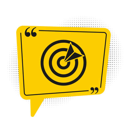 Black Target sport icon isolated on white background. Clean target with numbers for shooting range or shooting. Yellow speech bubble symbol. Vector Illustration.