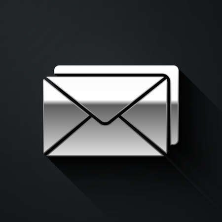 Silver Envelope icon isolated on black background. Email message letter symbol. Long shadow style. Vector Illustration.