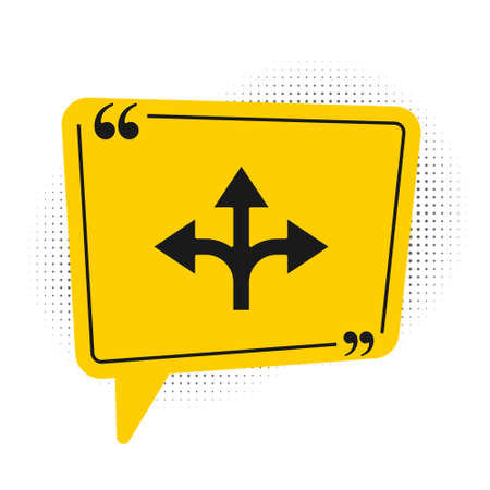 Black Road traffic sign. Signpost icon isolated on white background. Pointer symbol. Isolated street information sign. Direction sign. Yellow speech bubble symbol. Vector Illustration.