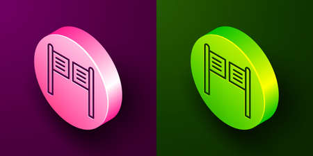 Isometric line Old western swinging saloon door icon isolated on purple and green background. Circle button. Vector Illustration.