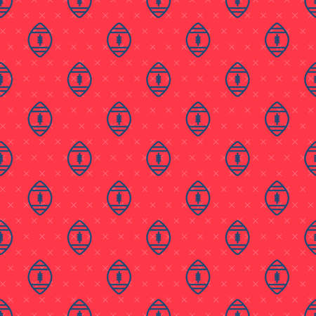 Blue line American Football ball icon isolated seamless pattern on red background. Rugby ball icon. Team sport game symbol. Vector Illustration.