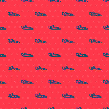 Blue line Formula 1 racing car icon isolated seamless pattern on red background. Vector Illustration.