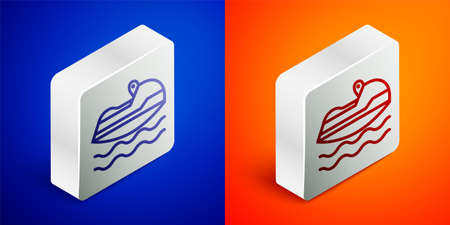 Isometric line Jet ski icon isolated on blue and orange background. Water scooter. Extreme sport. Silver square button. Vector Illustration.