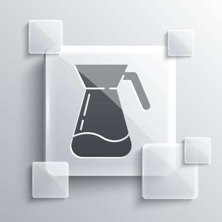 Grey Jug glass with water icon isolated on grey background. Kettle for water. Glass decanter with drinking water. Square glass panels. Vector Illustration. Stock fotó - 151122932