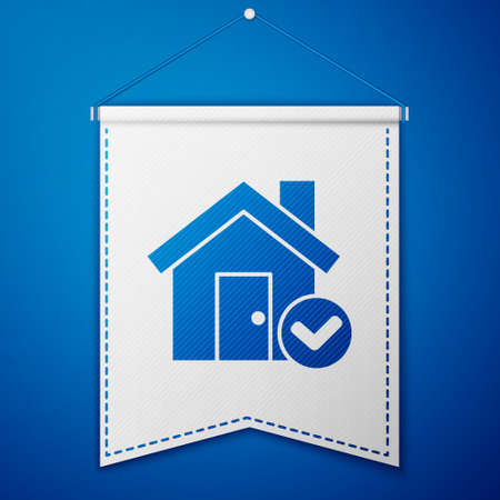 Blue House with check mark icon isolated on blue background. Real estate agency or cottage town elite class. White pennant template. Vector Illustration.
