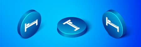 Isometric Bed icon isolated on blue background. Blue circle button. Vector Illustration. Stock Illustratie