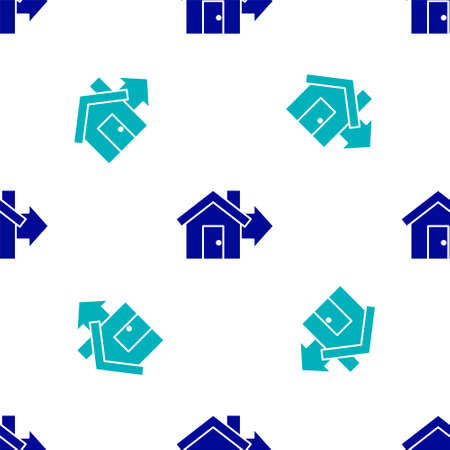 Blue Sale house icon isolated seamless pattern on white background. Buy house concept. Home loan concept, rent, buying a property. Vector Illustration.