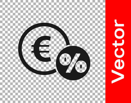 Black Money coin with percent icon isolated on transparent background. Cash Banking currency sign. Vector Illustration. Ilustrace