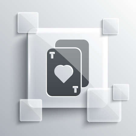 Grey Playing cards icon isolated on grey background. Casino gambling. Square glass panels. Vector Illustration. Ilustração