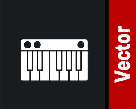 White Music synthesizer icon isolated on black background. Electronic piano. Vector Illustration.