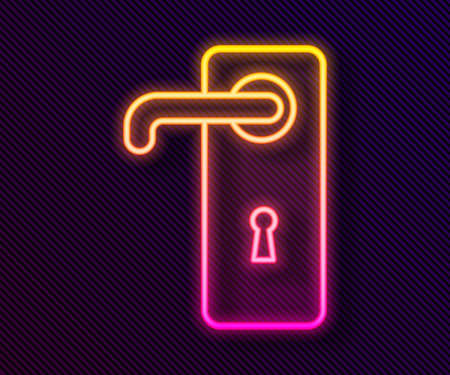 Glowing neon line Door handle icon isolated on black background. Door lock sign. Vector Illustration. Ilustrace