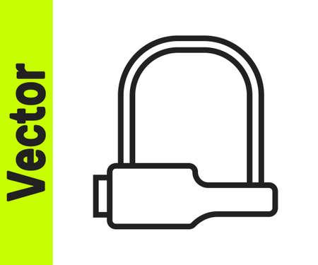 Black line Bicycle lock U shaped industrial icon isolated on white background. Vector Illustration. Ilustrace