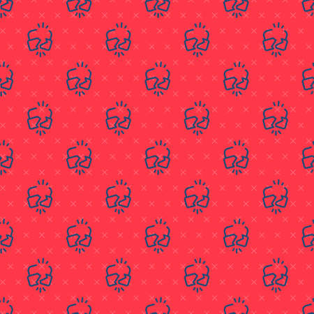 Blue line Broken or cracked lock icon isolated seamless pattern on red background. Unlock sign. Vector Illustration.