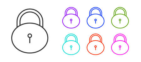 Black line Lock icon isolated on white background. Padlock sign. Security, safety, protection, privacy concept. Set icons colorful. Vector Illustration. Ilustrace