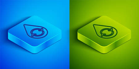 Isometric line Recycle clean aqua icon isolated on blue and green background. Drop of water with sign recycling. Square button. Vector Illustration.