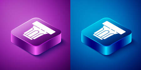 Isometric Glass with water icon isolated on blue and purple background. Soda glass. Square button. Vector Illustration. Stock fotó - 151130533