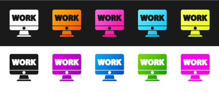 Set Computer monitor with text work icon isolated on black and white background. Vector Illustration.