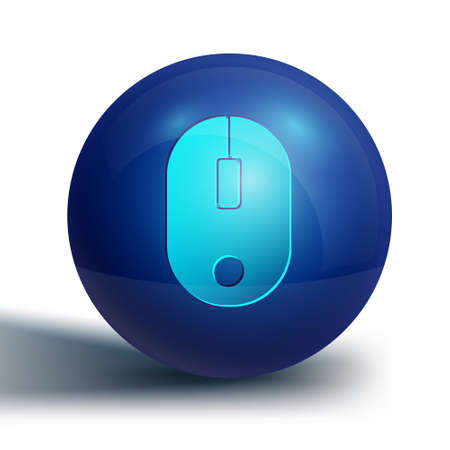 Blue Computer mouse icon isolated on white background. Optical with wheel symbol. Blue circle button. Vector Illustration.