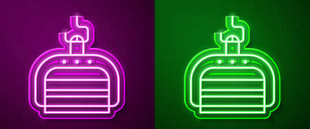 Glowing neon line Ski lift icon isolated on purple and green background. Vector Illustration.