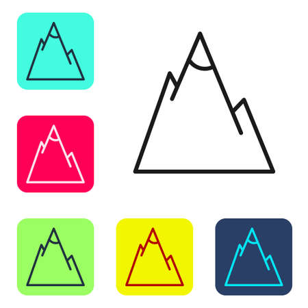 Black line Mountains icon isolated on white background. Symbol of victory or success concept. Set icons in color square buttons. Vector Illustration. 일러스트