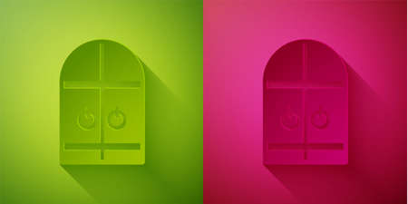 Paper cut Medieval castle gate icon isolated on green and pink background. Medieval fortress. Protection from enemies. Paper art style. Vector.