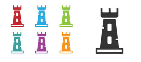 Black Castle tower icon isolated on white background. Fortress sign. Set icons colorful. Vector. Vettoriali