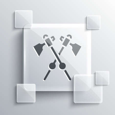Grey Crossed medieval axes icon isolated on grey background. Battle axe, executioner axe. Medieval weapon. Square glass panels. Vector. Vettoriali