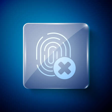 White Cancelled fingerprint icon isolated on blue background. Access denied for user concept. Error, fraud. Identification sign. Touch id. Square glass panels. Vector. Vettoriali