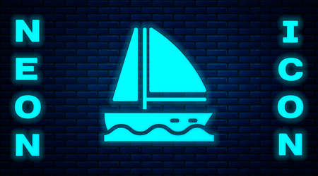 Glowing neon Yacht sailboat or sailing ship icon isolated on brick wall background. Sail boat marine cruise travel. Vector.