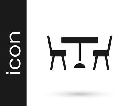 Black Picnic table with chairs on either side of the table icon isolated on white background.  Vector.