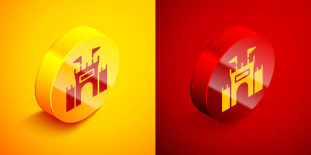 Isometric Castle icon isolated on orange and red background. Circle button. Vector. Archivio Fotografico - 151300093