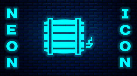 Glowing neon Wooden barrel icon isolated on brick wall background. Alcohol barrel, drink container, wooden keg for beer, whiskey, wine.  Vector. Illustration