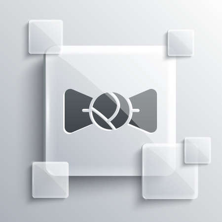 Grey Bow tie icon isolated on grey background. Square glass panels. Vector. Ilustração