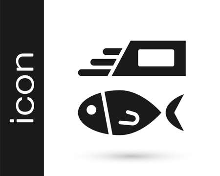 Black Fish and chips icon isolated on white background. Vector.