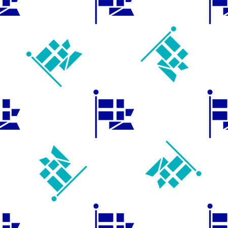Blue Flag of England on flagpole icon isolated seamless pattern on white background.  Vector.