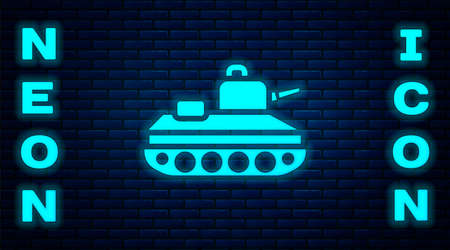 Glowing neon Military tank icon isolated on brick wall background. Vector.