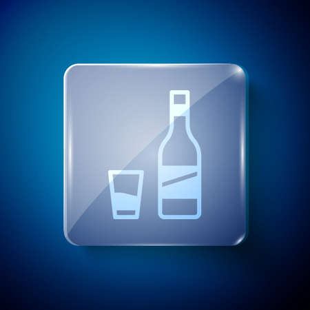 White Bottle of vodka with glass icon isolated on blue background. Square glass panels. Vector. Illustration